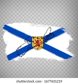 Flag of  Nova Scotia from brush strokes. Blank map of  Nova Scotia Province. Canada. High quality map of Nova Scotia and flag on transparent background. Stock vector.  EPS10.