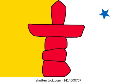Flag of Nunavut, Canada. Nunavut is the newest, largest, and most northerly territory of Canada.