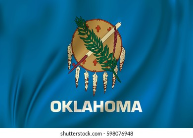 Flag of Oklahoma state of the United States. Vector illustration. Waving in the wind on silk background