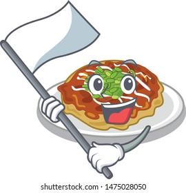 With flag okonomiyaki is served on cartoon plate
