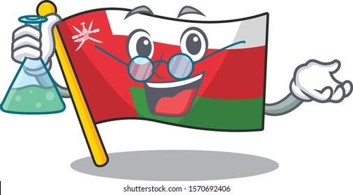 Flag oman as a funny Professor cartoon character holding glass tube