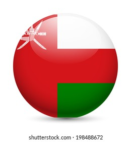 Flag of Oman as round glossy icon. Button with Omani flag