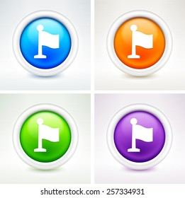 Flag on Elegant Vector Button