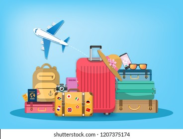 flag on luggage and accessories travel around the world concept summer banner. plane check in Invitation on Background Design, concept blank space for text and content paper art, vector, Card, Poster,