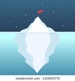 Flag on the mountain. Goal achievement. ฺBehind the success of iceberg ambition concept vector illustration