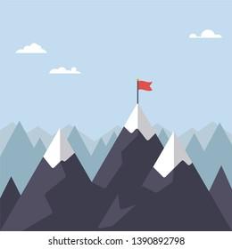 Flag on mountain peak flat design vector illustration. Success concept.