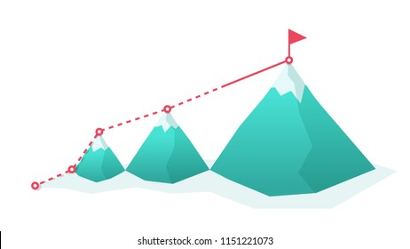 Flag on the mountain peak. goal achievement. success and win concept vector illustration