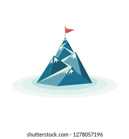 Flag on the mountain peak. Way to successful Business. Vector illustration
