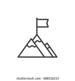 Flag on mountain top line icon, outline vector sign, linear style pictogram isolated on white. Achievement symbol, logo illustration. Editable stroke. Pixel perfect vector graphics