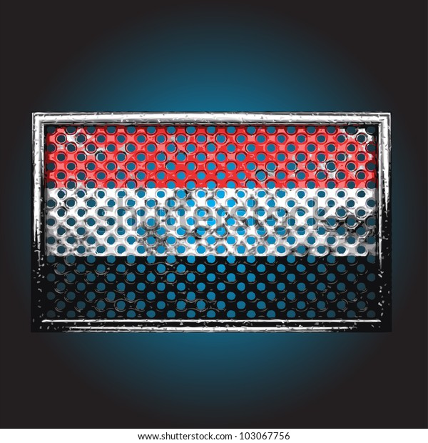 flag on old metal made in vector