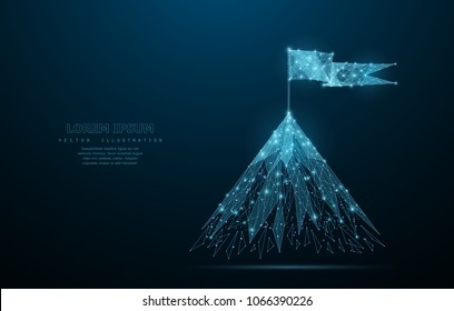 Flag on the top of mountain. Low poly wireframe mesh looks like constellation on blue night sky with dots and stars. Crumbled edge. Success in business, top or goal symbol, illustration or background