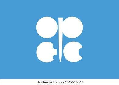 Flag of OPEC ( Organization of the Petroleum Exporting Countries ) OPEC Flag. Button with flag of OPEC