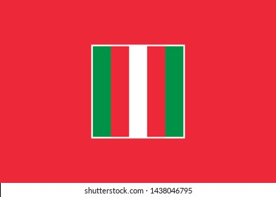 Flag of Oranjestad is the capital and largest city of Aruba. Vector illustration