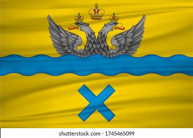 Flag of Orenburg is the administrative center of Orenburg Oblast, Russia. Realistic waving flag of Orenburg vector background.