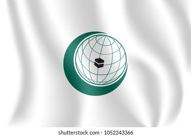 Flag of the Organization of Islamic Cooperation. Realistic waving flag of Organization of Islamic Cooperation (OIC). 3d shaded white flag texture.