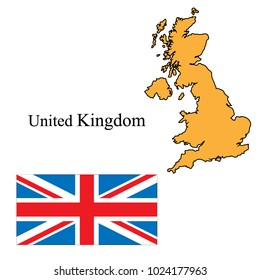 Flag and outline of Great Britain vector