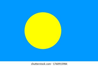 Flag of Palau, National Republic of Palau flag, The capital city is Melekeok.