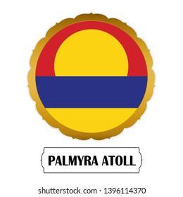 Flag of Palmyra Atoll with name icon, Golden sticker with flag of the Palmyra Atoll.vector