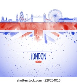 flag and the panorama of the city of London landmarks painted in the style of the sketch and watercolor.
