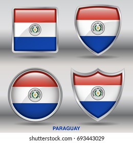 Flag of Paraguay in 4 shapes collection with clipping path