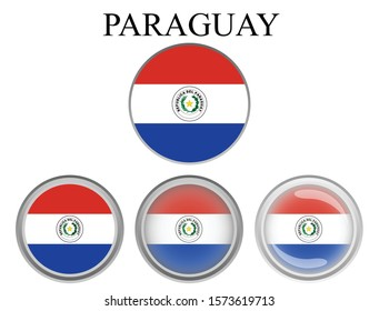 The flag of the Paraguay country in the form of a circle