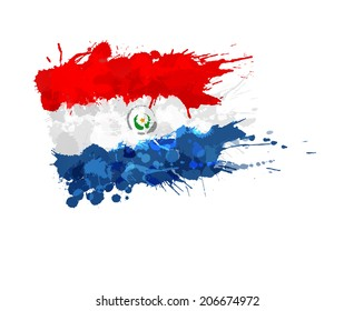 Flag of  Paraguay made of colorful splashes