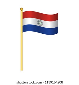 Flag of Paraguay  official colors and proportion correctly waving isolated Vector illustration eps10.