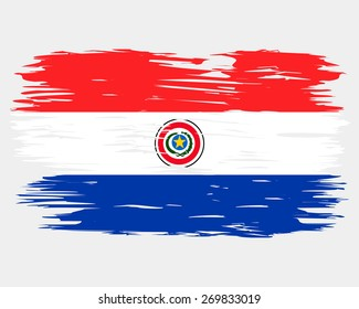 Flag of Paraguay. Painted brush colored inks. Symbol Independence Day National Patriotic Travel Country Background Grunge Paint Stock Vector Icon Logo Picture Image Illustration Political