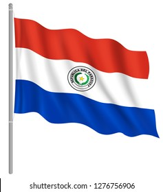 Flag of Paraguay with flag pole waving in wind. Vector illustration