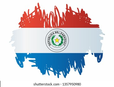 Flag of Paraguay, Republic of Paraguay. Template for award design, an official document with the flag of Paraguay. Bright, colorful vector illustration.