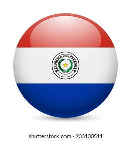 Flag of Paraguay as round glossy icon. Button with Paraguayan flag