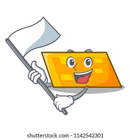 With flag parallelogram mascot cartoon style