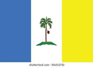 Flag of Penang state and federal territory of Malaysia. Vector illustration.