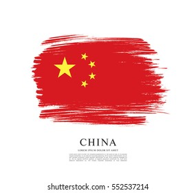 Flag of People's Republic of China, brush stroke background