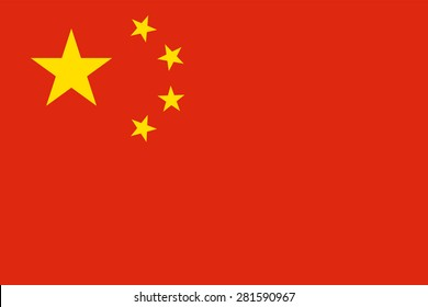 """Flag of the People's Republic of China """"Five-star red flag."""" Official chinese state symbol of the country. Yellow stars on a red background. True colors, sizes and shapes. Vector illustration."""