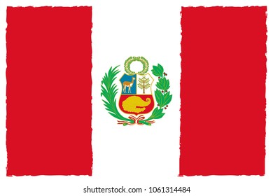 Flag of Peru. Hand Painted with Brush. Vector Illustration.