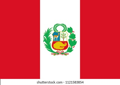 Flag of Peru officially the Republic of Peru is a country in western South America. Vector illustration