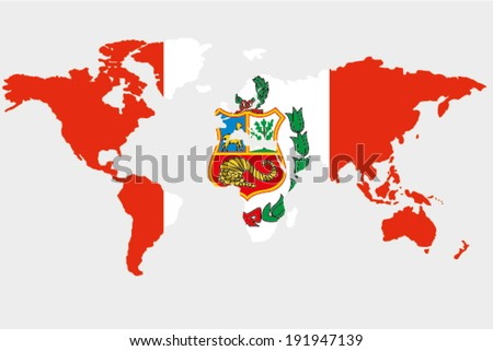 Flag Peru Outline World Stock Vector (Royalty Free) 191947139 ...