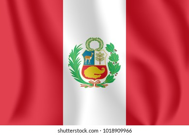 Flag of Peru. Realistic waving flag of Republic of Peru. Fabric textured flowing flag of Peru.