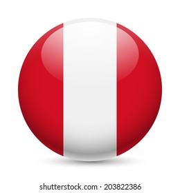 Flag of Peru as round glossy icon. Button with Peruvian flag