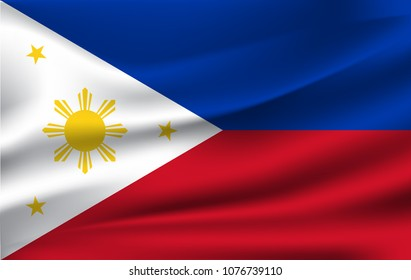 Flag of the Philipines waving in the wind / flag vector