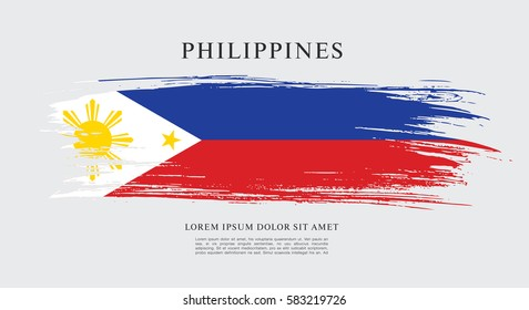 Flag of Philippines, brush stroke background
