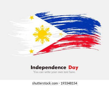 The flag of the Philippines. Flag in grungy style. Independence Day.