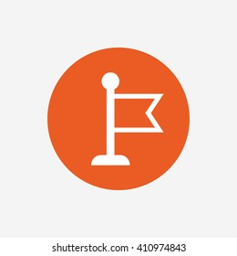 Flag pointer sign icon. Location marker symbol. Orange circle button with icon. Vector