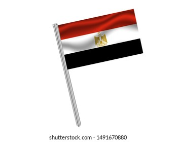 Flag pole isolated on white background with National flag of Arab Republic of Egypt. original colors and proportion. Simply vector illustration eps10, from countries flag set.