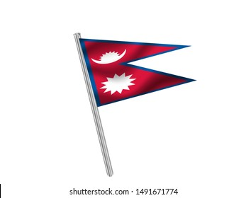 Flag pole isolated on white background with National flag of Federal Democratic Republic of Nepal. original colors and proportion. Simply vector illustration eps10, from countries flag set.