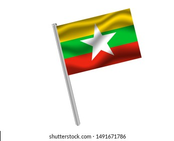 Flag pole isolated on white background with National flag of Republic of the Union of Myanmar. original colors and proportion. Simply vector illustration eps10, from countries flag set.