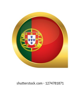 Flag of Portugal, location map pin, pointer flag, button with the reflection of light and shadow, gold frame, Icon country. Realistic vector illustration on white background.