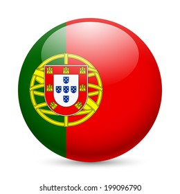 Flag of Portugal as round glossy icon. Button with Portuguese flag