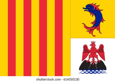Flag of Provence-Alpes-Cote d'Azur or PACA is one of the 18 administrative regions of France. Its capital is Marseille. Vector illustration